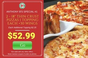 2 18″ Pizza and Wings