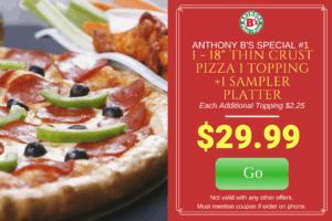 18″ Pizza 1 Sampler Platter