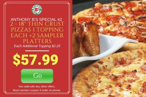 2 18″ Pizza and 2 Samplers